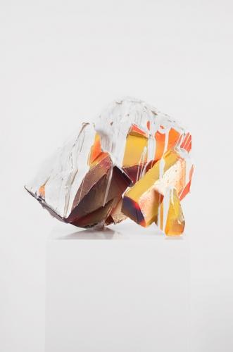 Zachary Buchner, Untitled (Poured Violet Orange)