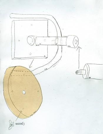 Julia Asherman, metal plate, wooden disk