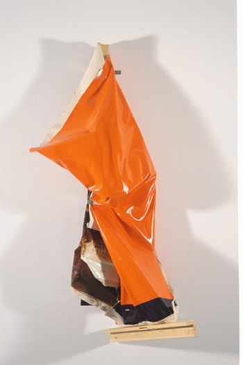 Angela de la Cruz, Clutter bag (Orange) II